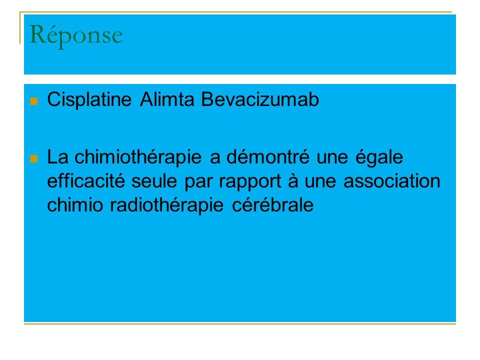 Chimiothérapie ou RTE cérébrale Randomisation Bras A Cisplatine Navelbine avec RTE cérébrale lors de la progression ou systématiquement à 6 cures Bras B Cisplatine Navelbine + RTE cérébrale demblée Robinet G et al, Ann Oncol 2011