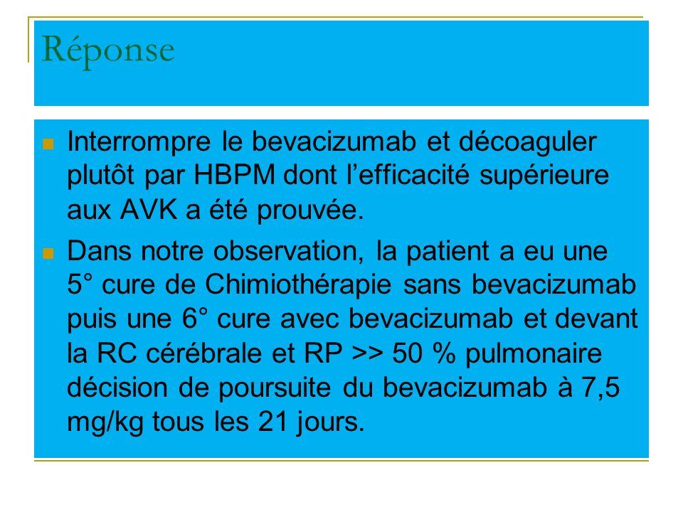 Réponse Interrompre le bevacizumab et décoaguler plutôt par HBPM dont lefficacité supérieure aux AVK a été prouvée. Dans notre observation, la patient