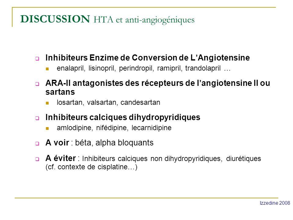 Cas clinique Normalisation de la TA sous ARA-II Protéinurie toujours à + Poursuite du bevacizumab Bilan de mars 2011: poursuite de la RC cérébrale, pas dévolutivité thoracique.