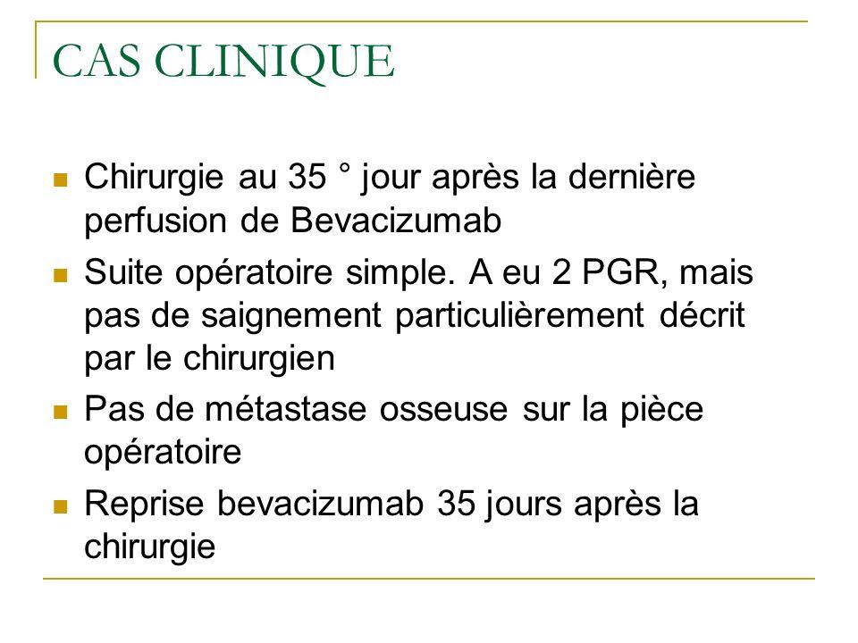 Bevacizumab et chirurgie DIV: bevacizumab 48 heures après Bevacizumab et endoscopie bronchique: pas de CI 1°Bevacizumab et chirurgie majeure: délai de 4 semaines Bevacizumab et chirurgie : délai de 6 à 8 semaines avant la chirurgie et 4 à 6 semaines après.