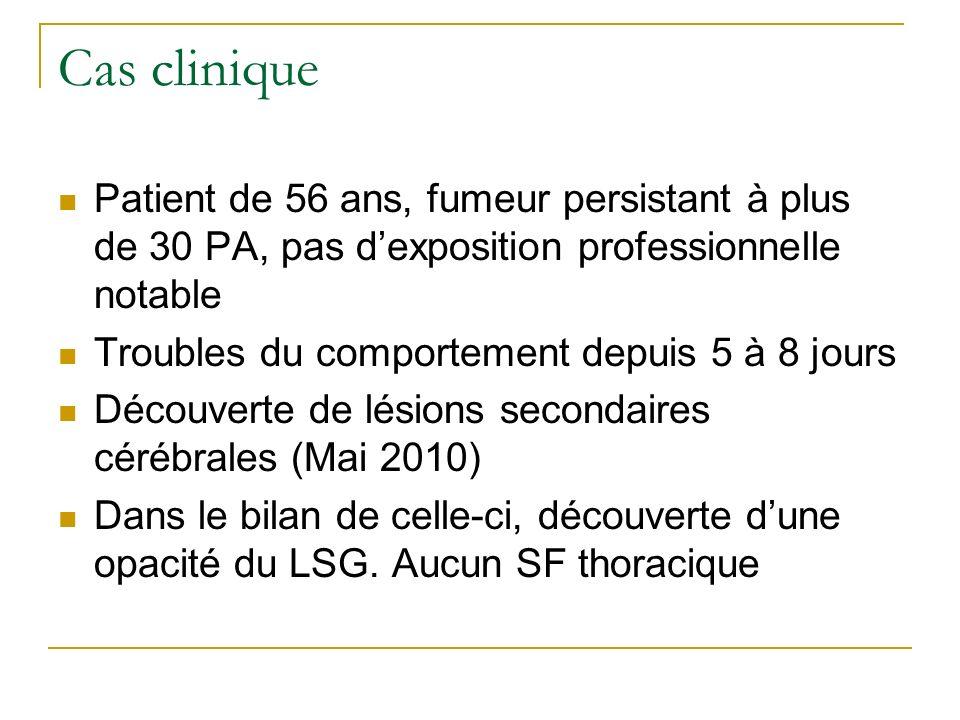 Cas clinique Patient de 56 ans, fumeur persistant à plus de 30 PA, pas dexposition professionnelle notable Troubles du comportement depuis 5 à 8 jours