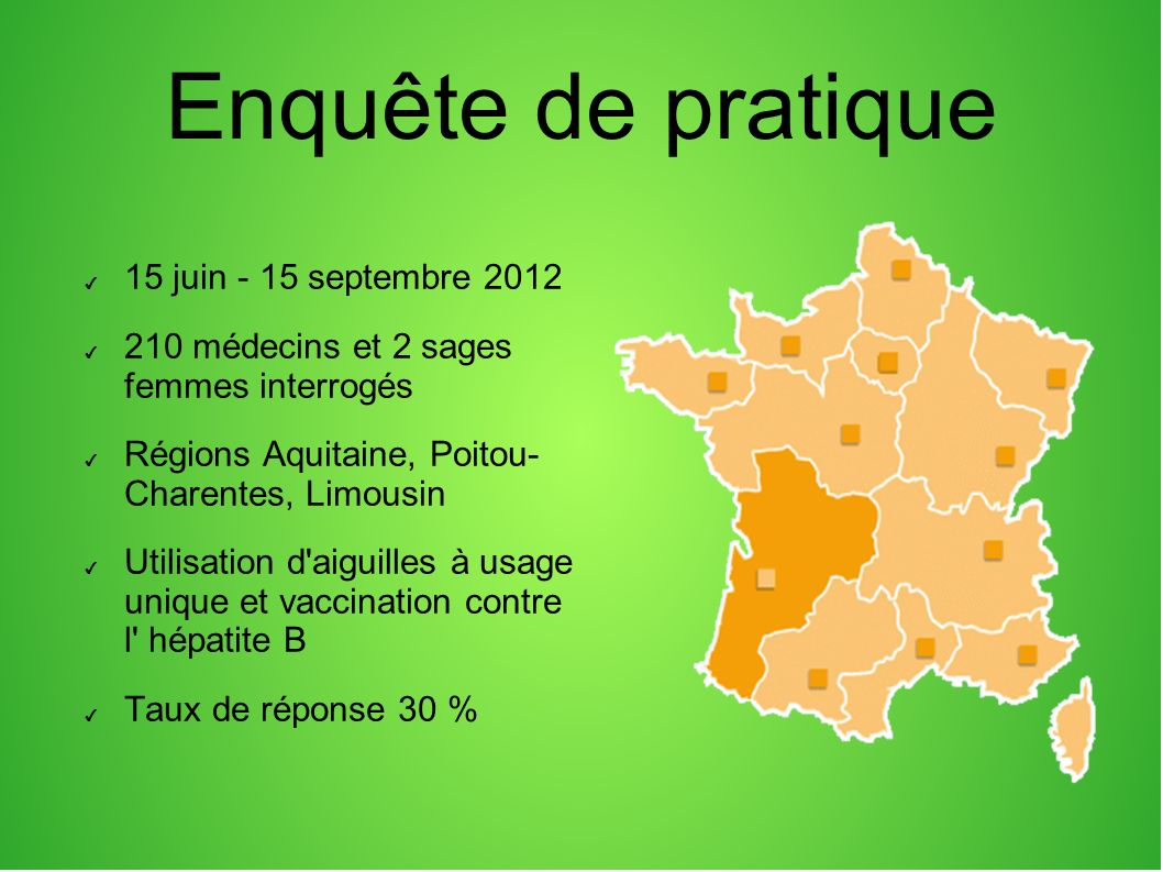 Enquête de pratique 15 juin - 15 septembre 2012 210 médecins et 2 sages femmes interrogés Régions Aquitaine, Poitou- Charentes, Limousin Utilisation d
