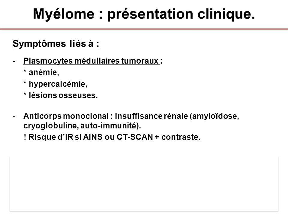 Myélome : présentation clinique. Symptômes liés à : -Plasmocytes médullaires tumoraux : * anémie, * hypercalcémie, * lésions osseuses. -Anticorps mono