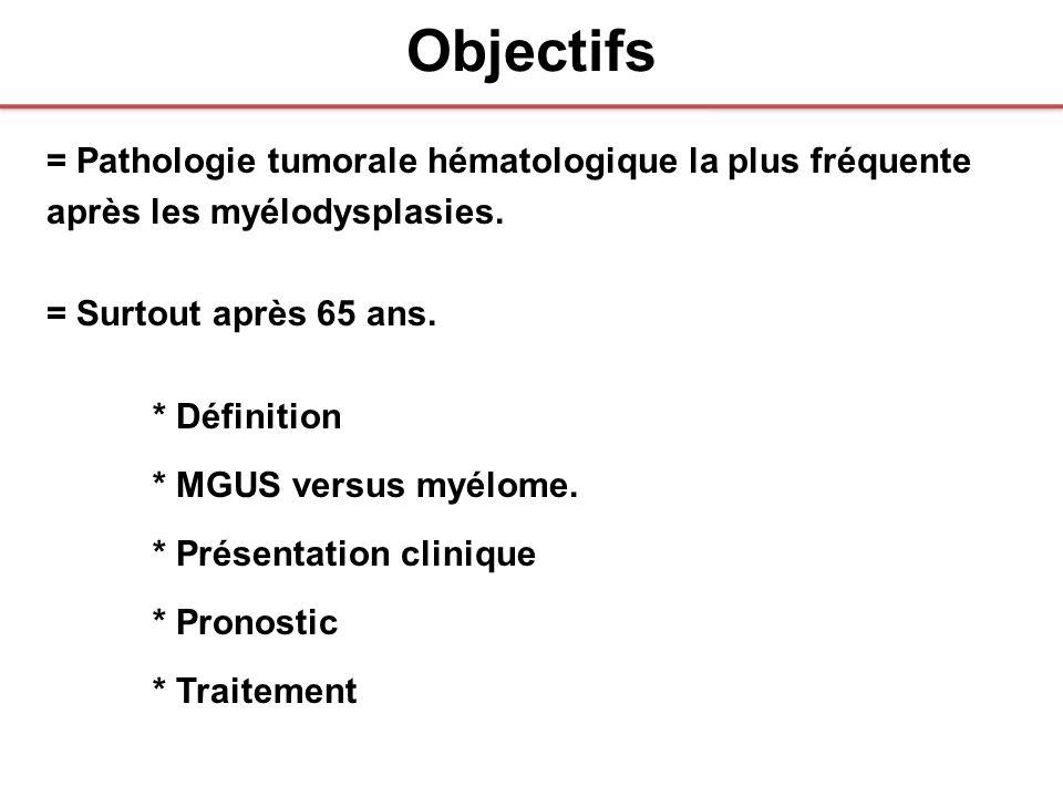 Objectifs = Pathologie tumorale hématologique la plus fréquente après les myélodysplasies. = Surtout après 65 ans. * Définition * MGUS versus myélome.