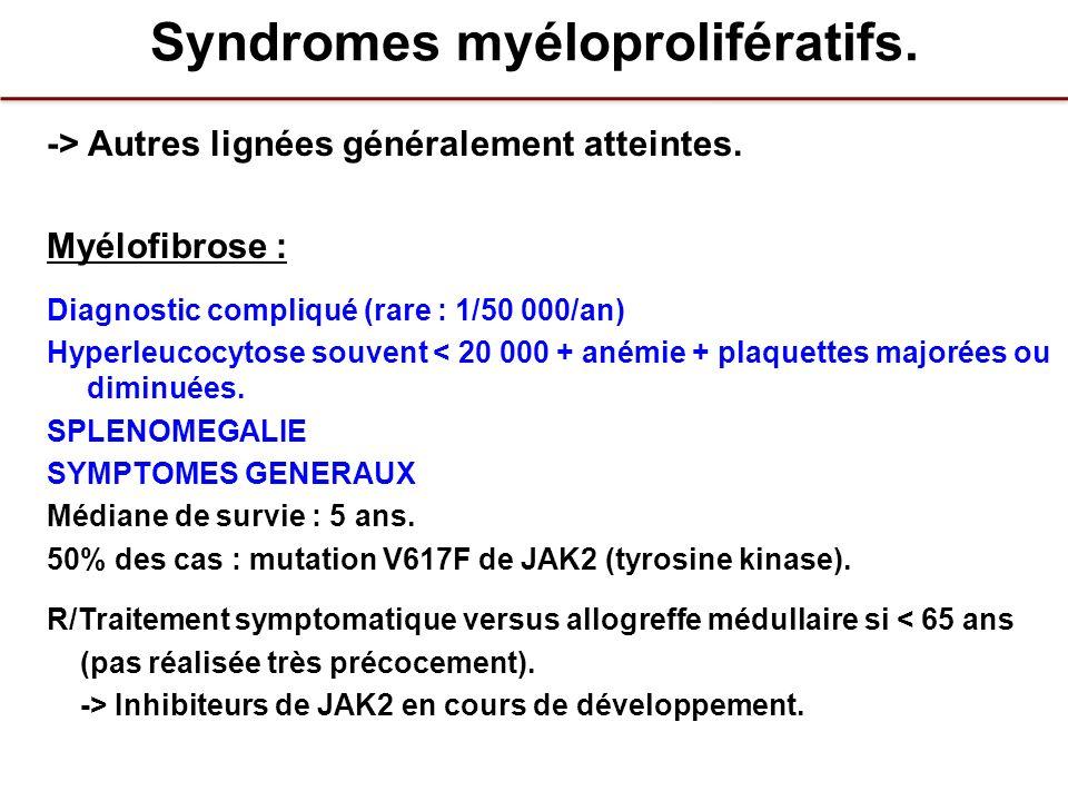 Syndromes myéloprolifératifs. -> Autres lignées généralement atteintes. Myélofibrose : Diagnostic compliqué (rare : 1/50 000/an) Hyperleucocytose souv