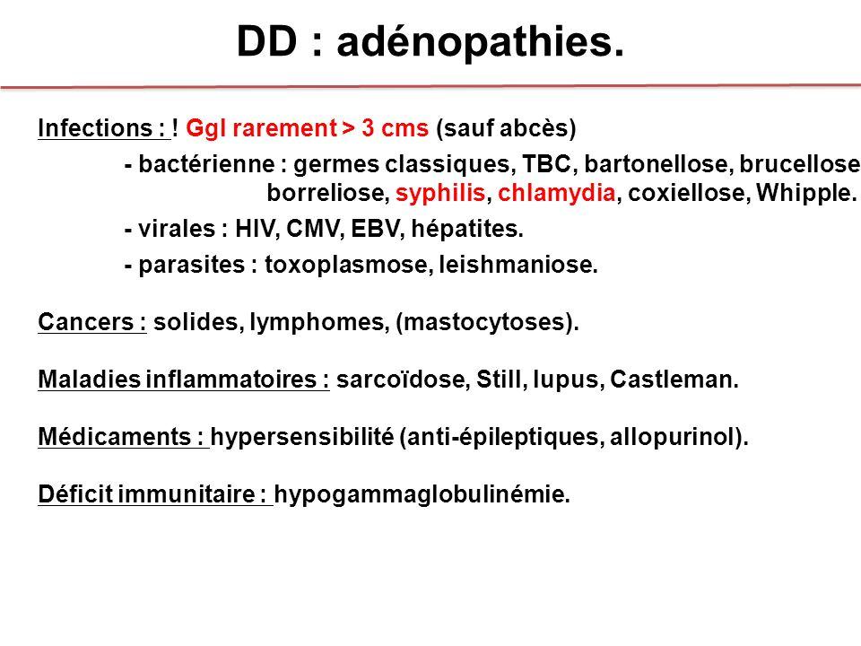 DD : adénopathies. Infections : ! Ggl rarement > 3 cms (sauf abcès) - bactérienne : germes classiques, TBC, bartonellose, brucellose borreliose, syphi