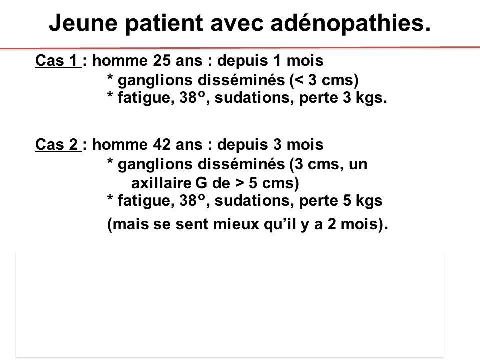 Jeune patient avec adénopathies. Cas 1 : homme 25 ans : depuis 1 mois * ganglions disséminés (< 3 cms) * fatigue, 38°, sudations, perte 3 kgs. Cas 2 :