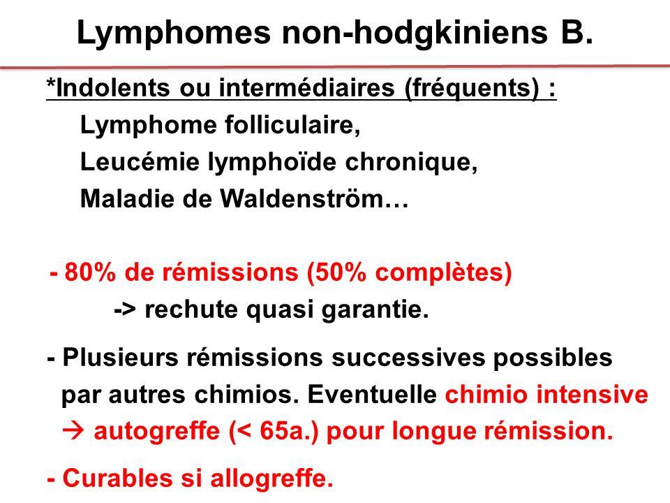 Lymphomes non-hodgkiniens B. *Indolents ou intermédiaires (fréquents) : Lymphome folliculaire, Leucémie lymphoïde chronique, Maladie de Waldenström… -