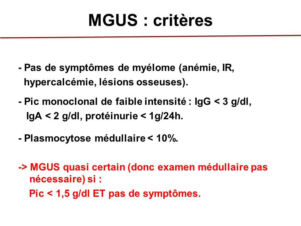 MGUS : critères - Pas de symptômes de myélome (anémie, IR, hypercalcémie, lésions osseuses). - Pic monoclonal de faible intensité : IgG < 3 g/dl, IgA