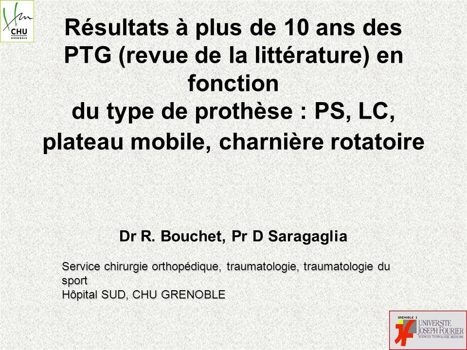 Résultats à plus de 10 ans des PTG (revue de la littérature) en fonction du type de prothèse : PS, LC, plateau mobile, charnière rotatoire Dr R. Bouch