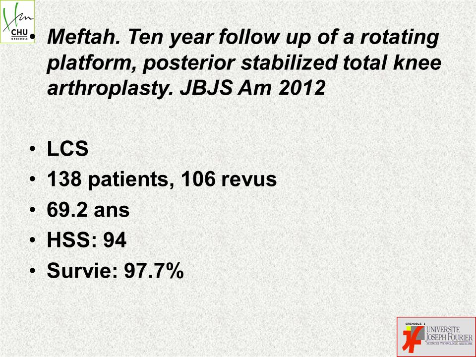 Meftah. Ten year follow up of a rotating platform, posterior stabilized total knee arthroplasty. JBJS Am 2012 LCS 138 patients, 106 revus 69.2 ans HSS
