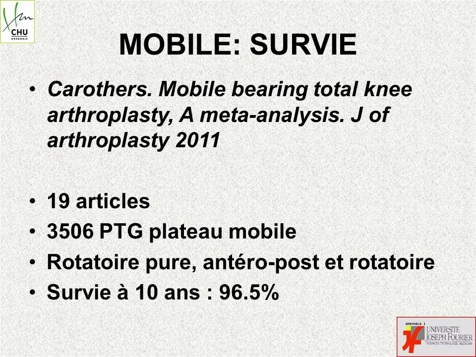 MOBILE: SURVIE Carothers.Mobile bearing total knee arthroplasty, A meta-analysis.