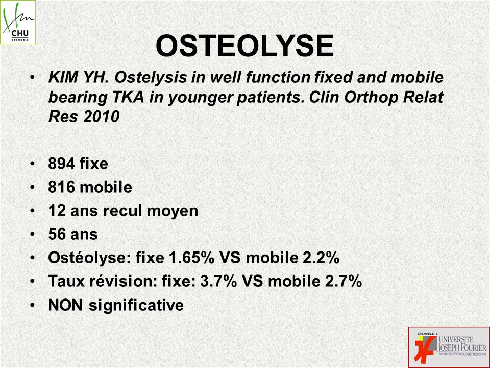 OSTEOLYSE KIM YH. Ostelysis in well function fixed and mobile bearing TKA in younger patients. Clin Orthop Relat Res 2010 894 fixe 816 mobile 12 ans r