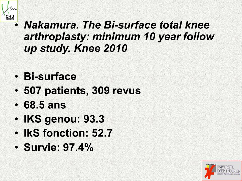Nakamura. The Bi-surface total knee arthroplasty: minimum 10 year follow up study. Knee 2010 Bi-surface 507 patients, 309 revus 68.5 ans IKS genou: 93