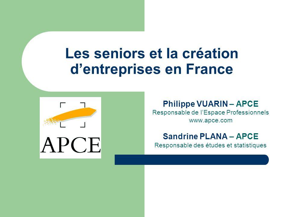 Les seniors et la création dentreprises en France Philippe VUARIN – APCE Responsable de lEspace Professionnels www.apce.com Sandrine PLANA – APCE Resp