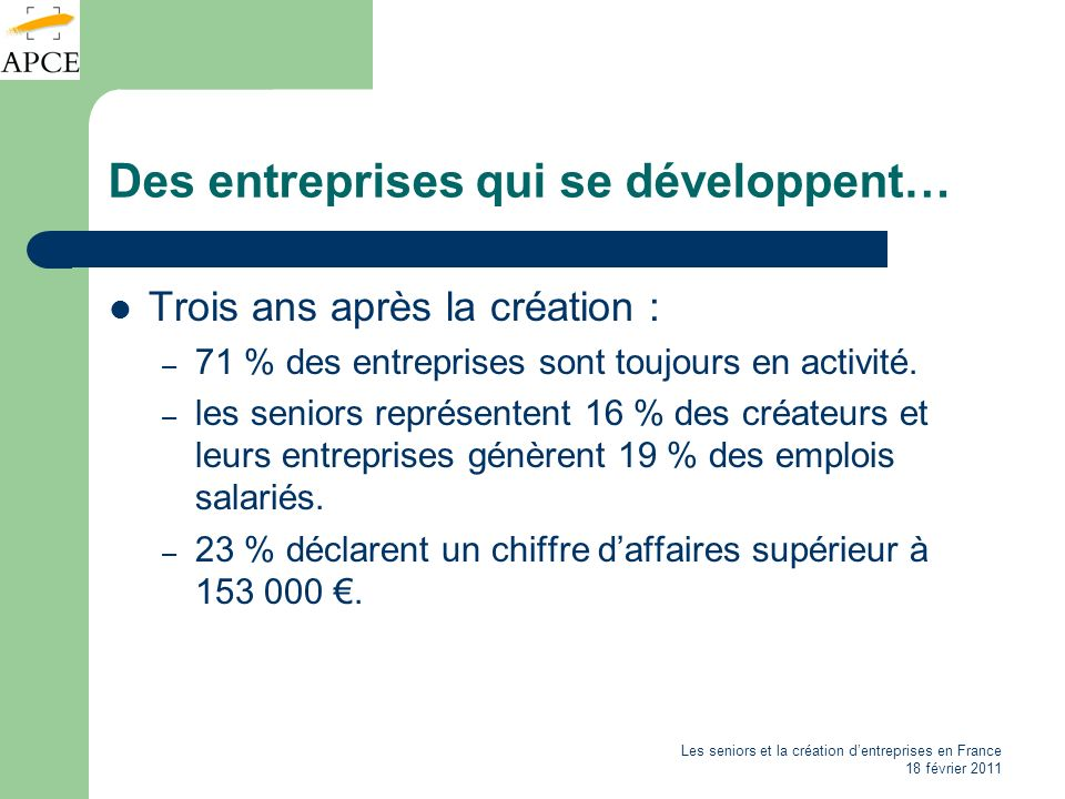 Les seniors et la création dentreprises en France 18 février 2011 Des entreprises qui se développent… Trois ans après la création : – 71 % des entrepr
