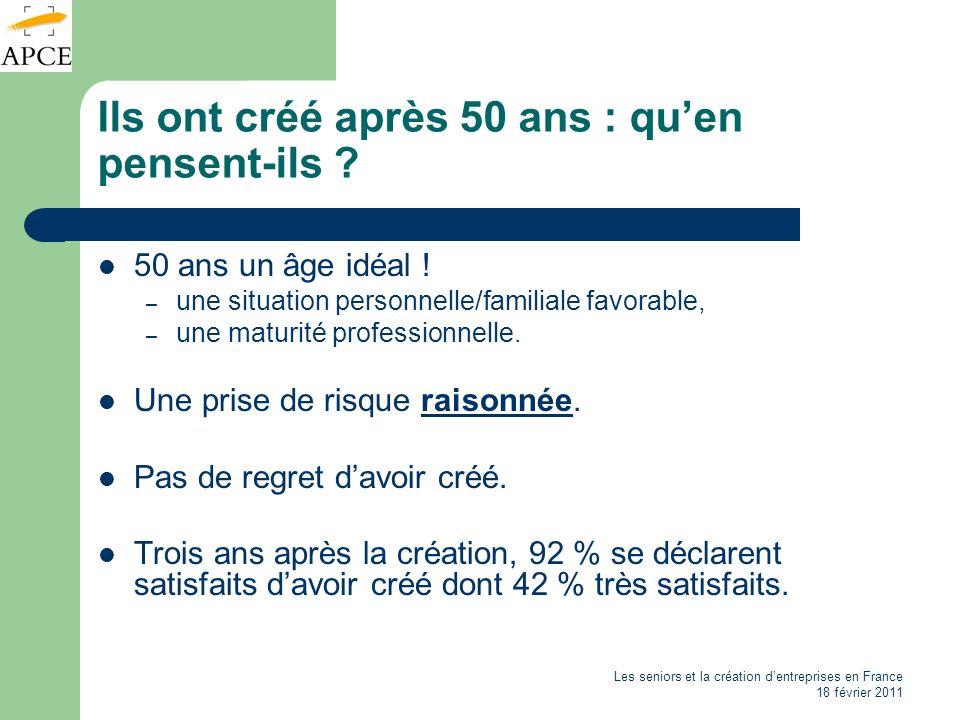 Les seniors et la création dentreprises en France 18 février 2011 Ils ont créé après 50 ans : quen pensent-ils ? 50 ans un âge idéal ! – une situation