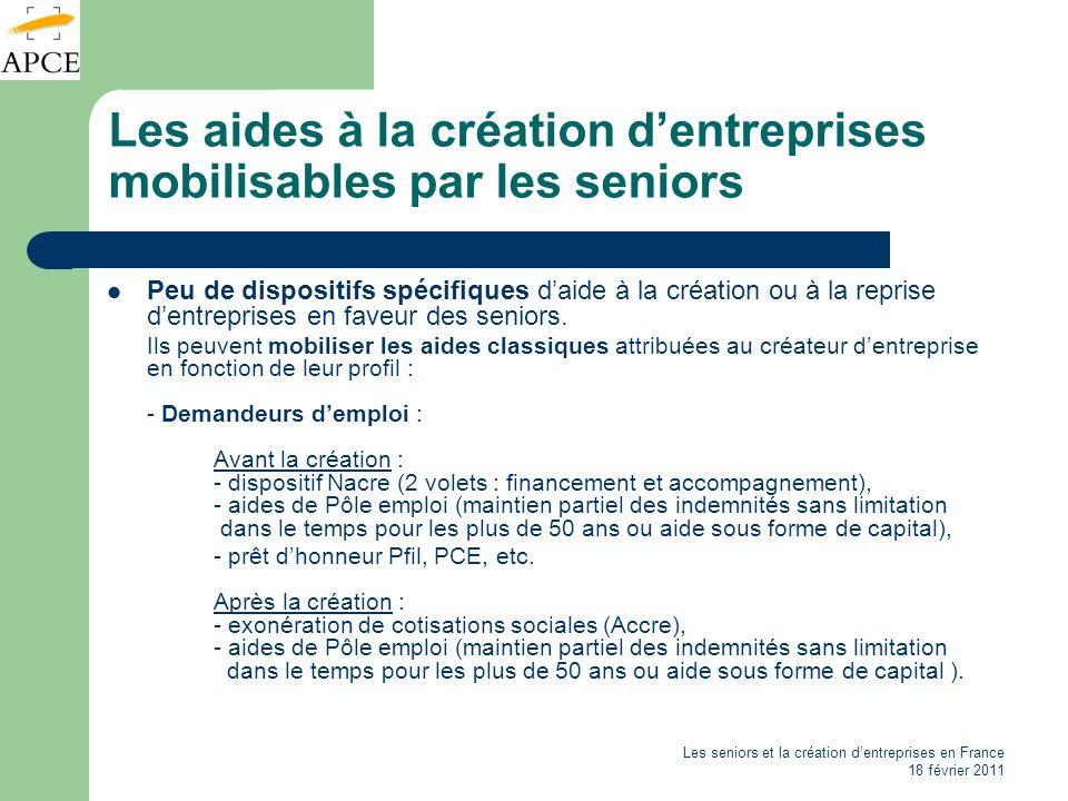 Les seniors et la création dentreprises en France 18 février 2011 Les aides à la création dentreprises mobilisables par les seniors Peu de dispositifs