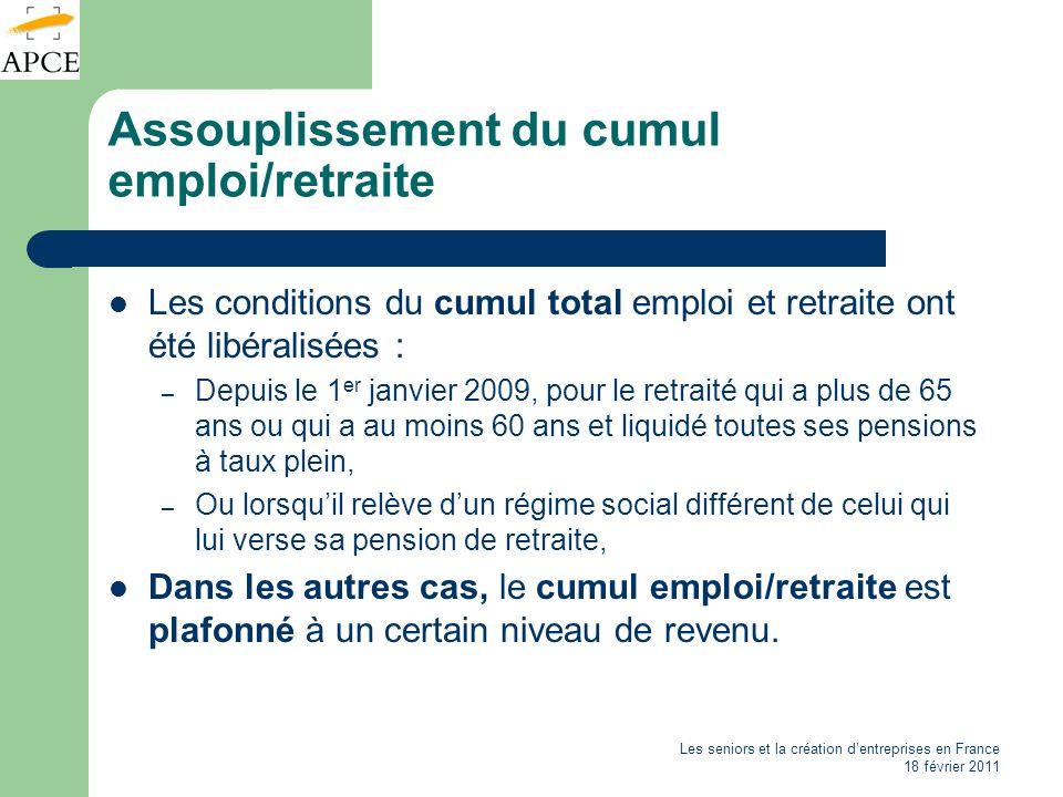 Les seniors et la création dentreprises en France 18 février 2011 Assouplissement du cumul emploi/retraite Les conditions du cumul total emploi et ret