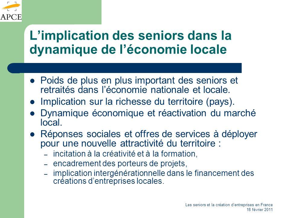 Les seniors et la création dentreprises en France 18 février 2011 Limplication des seniors dans la dynamique de léconomie locale Poids de plus en plus