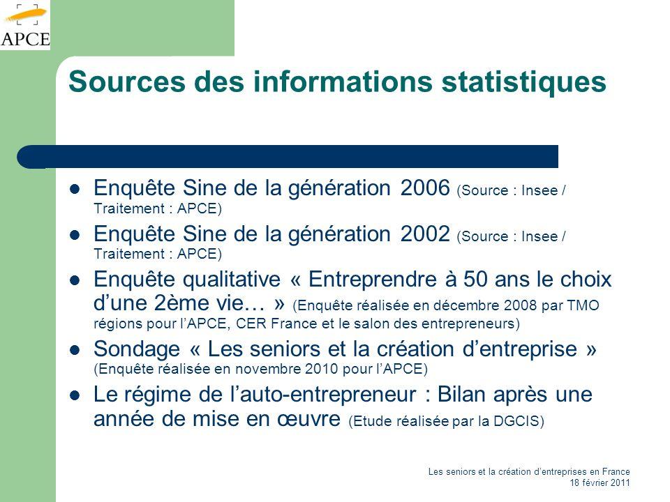 Les seniors et la création dentreprises en France 18 février 2011 Sources des informations statistiques Enquête Sine de la génération 2006 (Source : I