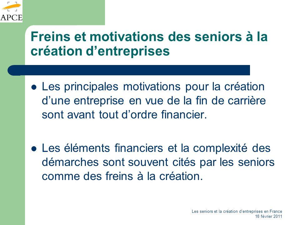 Les seniors et la création dentreprises en France 18 février 2011 Quelles entreprises créent les seniors .