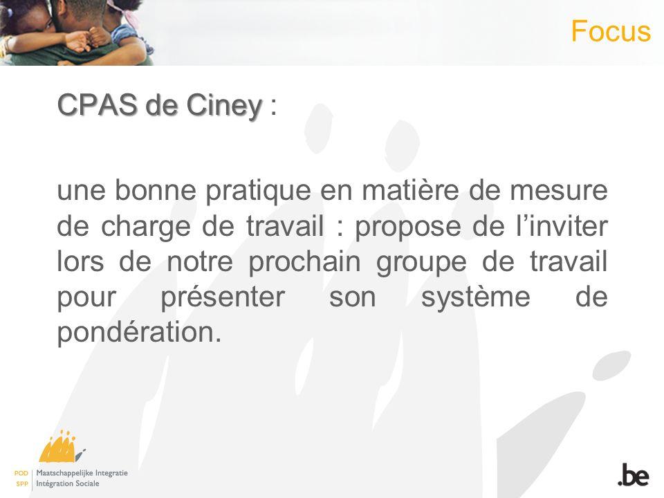 Focus CPAS de Ciney CPAS de Ciney : une bonne pratique en matière de mesure de charge de travail : propose de linviter lors de notre prochain groupe de travail pour présenter son système de pondération.