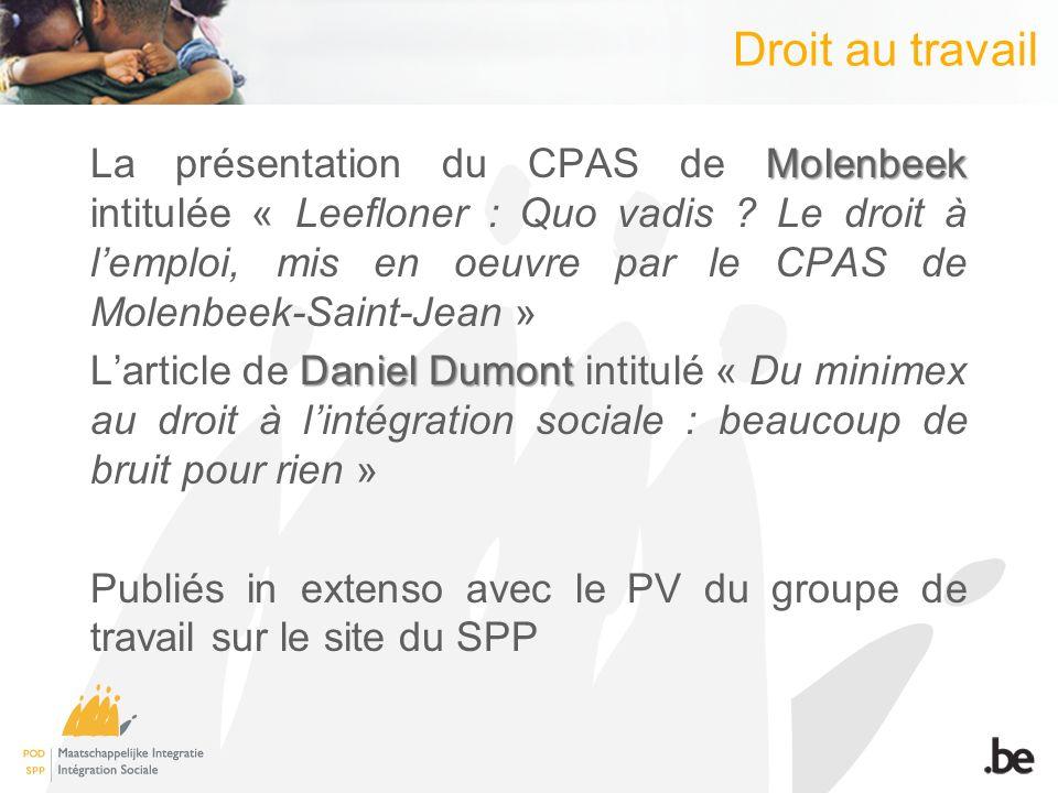 Droit au travail Molenbeek La présentation du CPAS de Molenbeek intitulée « Leefloner : Quo vadis .