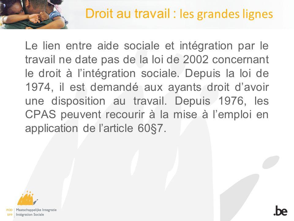 Droit au travail : les grandes lignes Le lien entre aide sociale et intégration par le travail ne date pas de la loi de 2002 concernant le droit à lintégration sociale.