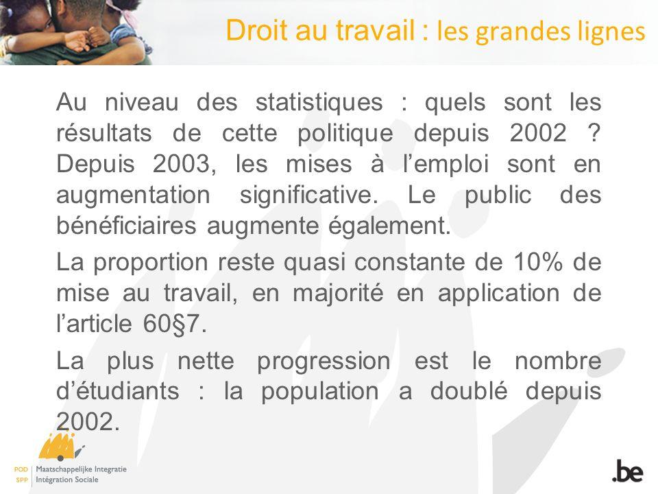 Droit au travail : les grandes lignes Au niveau des statistiques : quels sont les résultats de cette politique depuis 2002 .