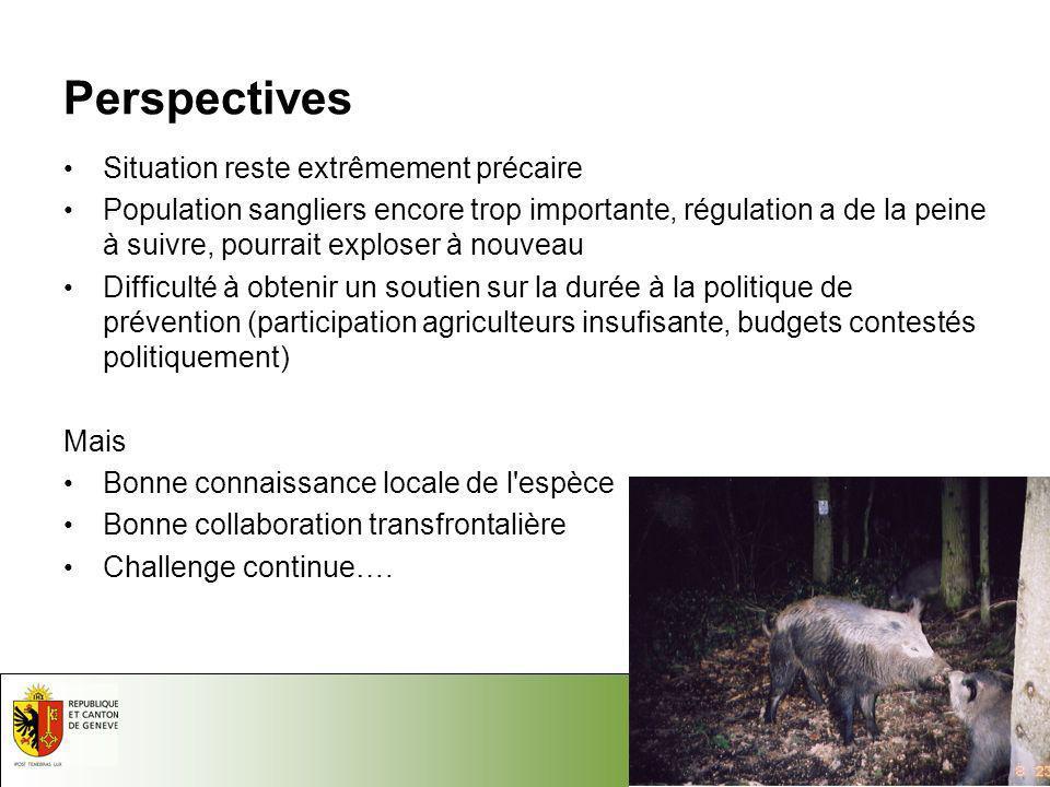 17.05.2014 - Page 33 Département du Territoire Domaine Nature et Paysage Inspection de la Faune et de la Pêche Perspectives Situation reste extrêmemen