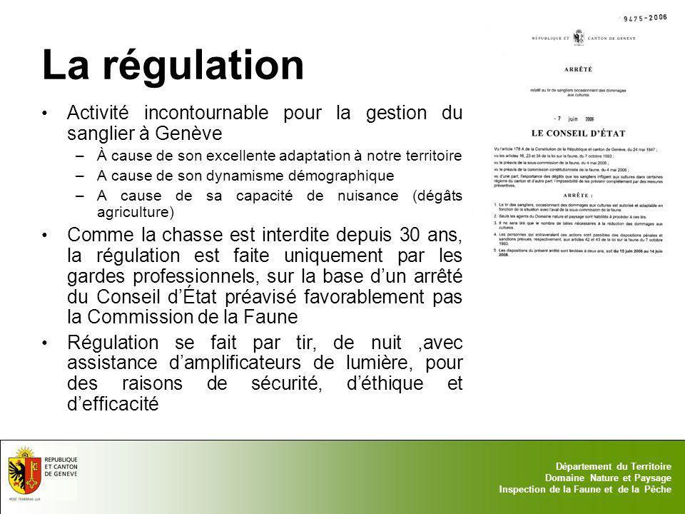 17.05.2014 - Page 6 Département du Territoire Domaine Nature et Paysage Inspection de la Faune et de la Pêche La régulation Activité incontournable po