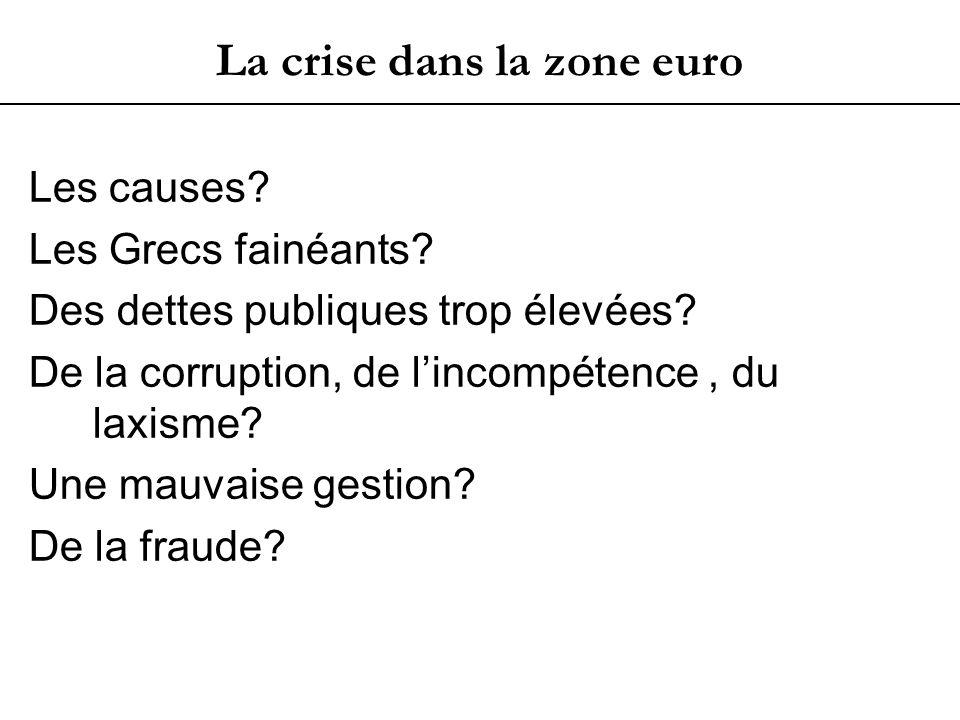 La crise dans la zone euro Les causes. Les Grecs fainéants.
