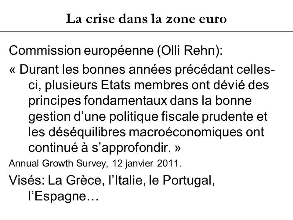 La crise dans la zone euro Commission européenne (Olli Rehn): « Durant les bonnes années précédant celles- ci, plusieurs Etats membres ont dévié des principes fondamentaux dans la bonne gestion dune politique fiscale prudente et les déséquilibres macroéconomiques ont continué à sapprofondir.