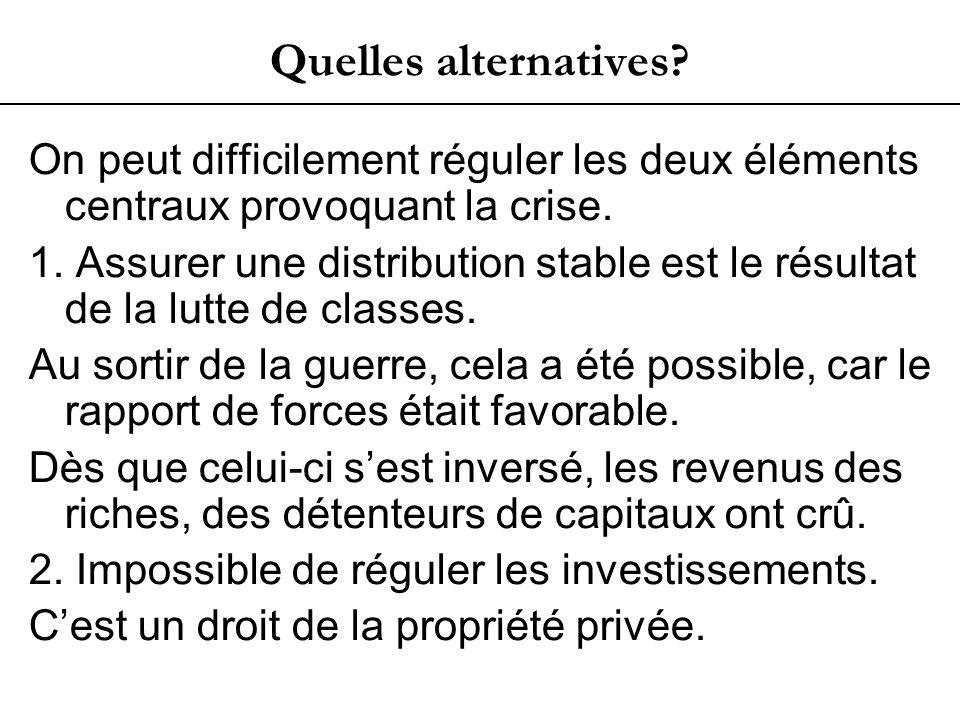 Quelles alternatives. On peut difficilement réguler les deux éléments centraux provoquant la crise.