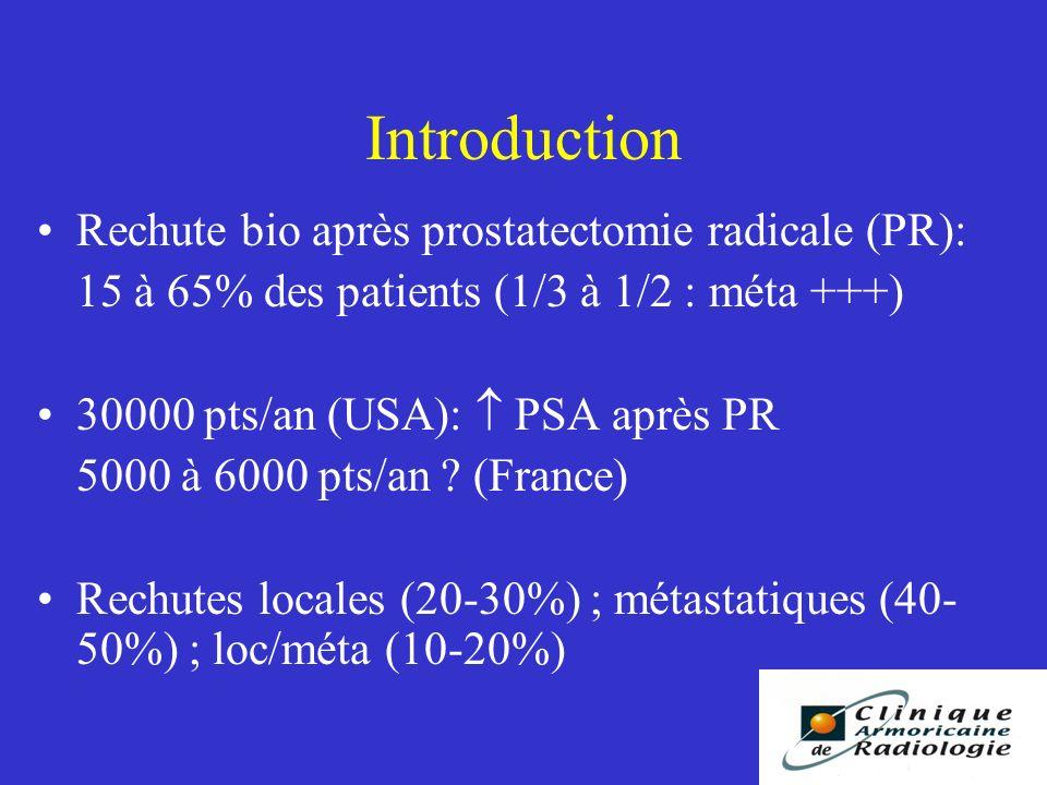 Introduction Rechute bio après prostatectomie radicale (PR): 15 à 65% des patients (1/3 à 1/2 : méta +++) 30000 pts/an (USA): PSA après PR 5000 à 6000 pts/an .