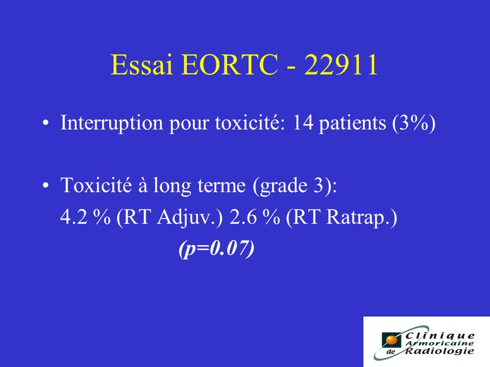 Essai EORTC - 22911 Interruption pour toxicité: 14 patients (3%) Toxicité à long terme (grade 3): 4.2 % (RT Adjuv.) 2.6 % (RT Ratrap.) (p=0.07)