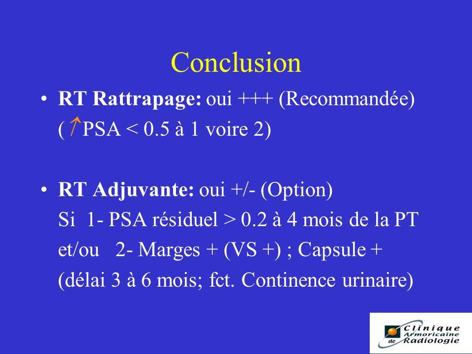 Conclusion RT Rattrapage: oui +++ (Recommandée) ( PSA < 0.5 à 1 voire 2) RT Adjuvante: oui +/- (Option) Si 1- PSA résiduel > 0.2 à 4 mois de la PT et/ou 2- Marges + (VS +) ; Capsule + (délai 3 à 6 mois; fct.