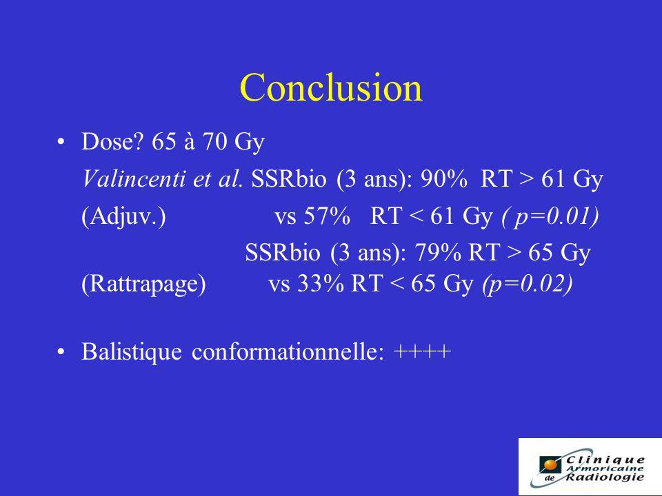 Conclusion Dose.65 à 70 Gy Valincenti et al.