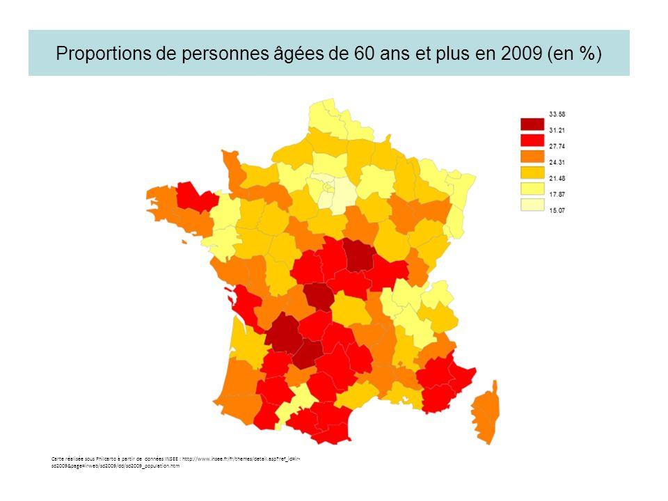 Proportions de personnes âgées de 60 ans et plus en 2009 (en %) Carte réalisée sous Philcarto à partir de données INSEE : http://www.insee.fr/fr/theme
