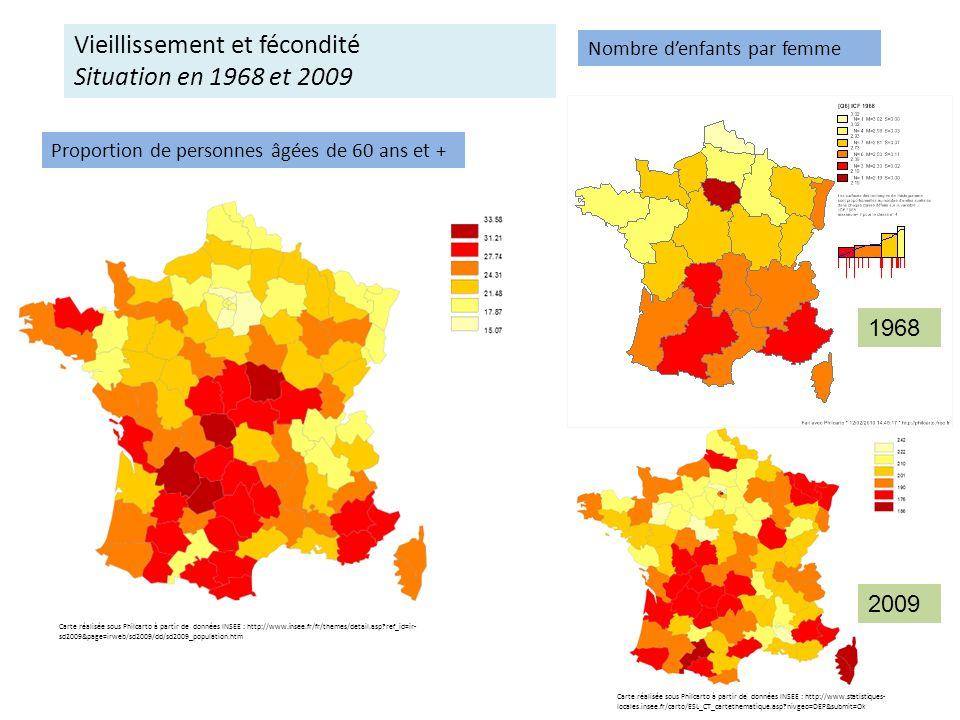 Espérance de vie à la naissance Hommes Femmes Carte réalisée sous Philcarto à partir de données INSEE : http://www.insee.fr/fr/themes/detail.asp?ref_id=ir- sd2009&page=irweb/sd2009/dd/sd2009_population.htm Carte réalisée sous Philcarto à partir de données INSEE : http://www.statistiques- locales.insee.fr/carto/ESL_CT_cartethematique.asp?nivgeo=DEP&submit=Ok Proportion de personnes âgées de 60 ans et + Vieillissement et mortalité Situation en 2009