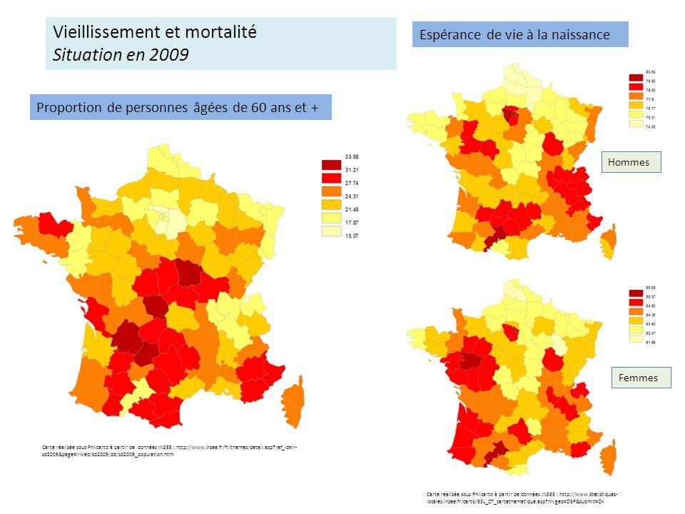 Espérance de vie à la naissance Hommes Femmes Carte réalisée sous Philcarto à partir de données INSEE : http://www.insee.fr/fr/themes/detail.asp?ref_i
