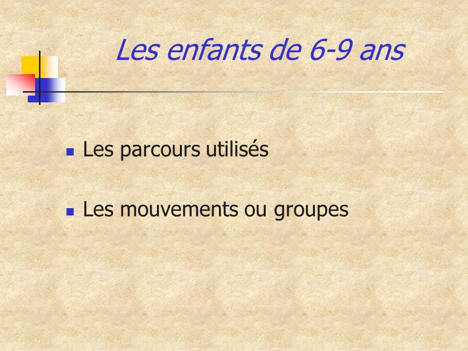 Les enfants de 6-9 ans Les parcours utilisés Les mouvements ou groupes