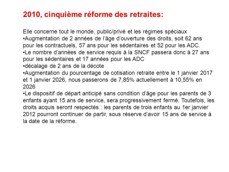 2010, cinquième réforme des retraites: Elle concerne tout le monde, public/privé et les régimes spéciaux Augmentation de 2 années de lâge douverture d