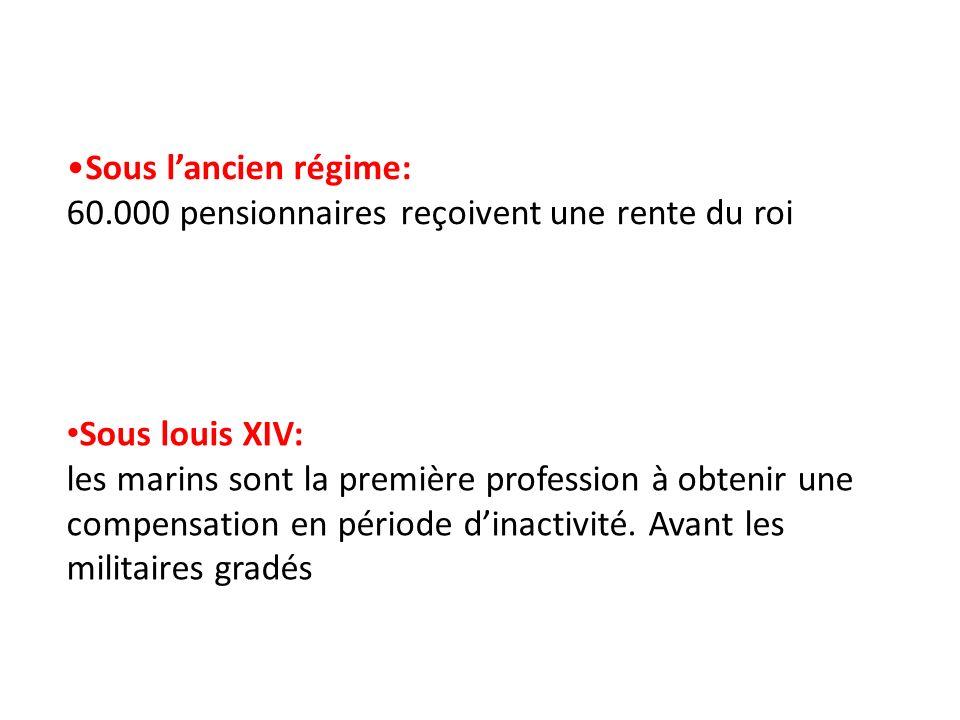 Sous lancien régime: 60.000 pensionnaires reçoivent une rente du roi Sous louis XIV: les marins sont la première profession à obtenir une compensation