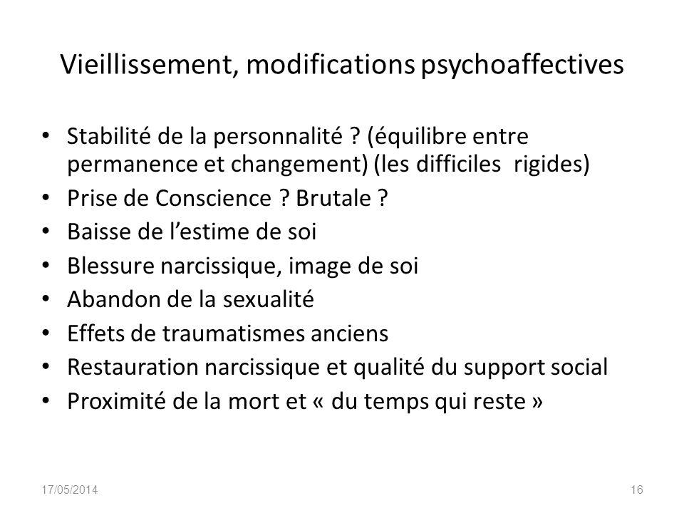 Vieillissement, modifications psychoaffectives Stabilité de la personnalité ? (équilibre entre permanence et changement) (les difficiles rigides) Pris