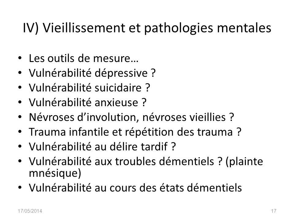 IV) Vieillissement et pathologies mentales Les outils de mesure… Vulnérabilité dépressive ? Vulnérabilité suicidaire ? Vulnérabilité anxieuse ? Névros