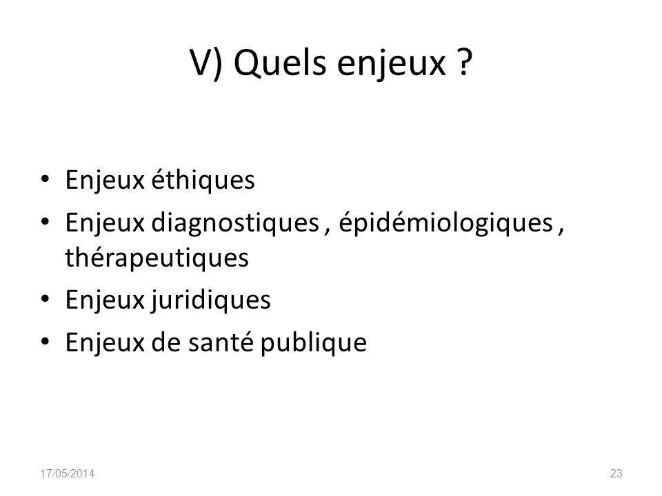 V) Quels enjeux ? Enjeux éthiques Enjeux diagnostiques, épidémiologiques, thérapeutiques Enjeux juridiques Enjeux de santé publique 17/05/201423