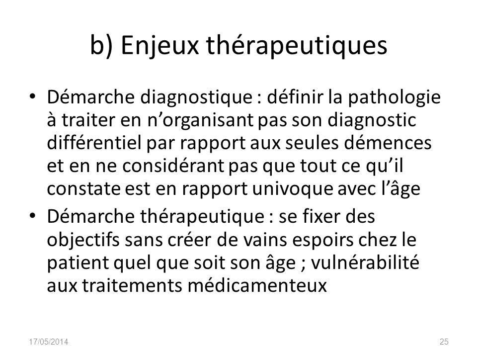 b) Enjeux thérapeutiques Démarche diagnostique : définir la pathologie à traiter en norganisant pas son diagnostic différentiel par rapport aux seules