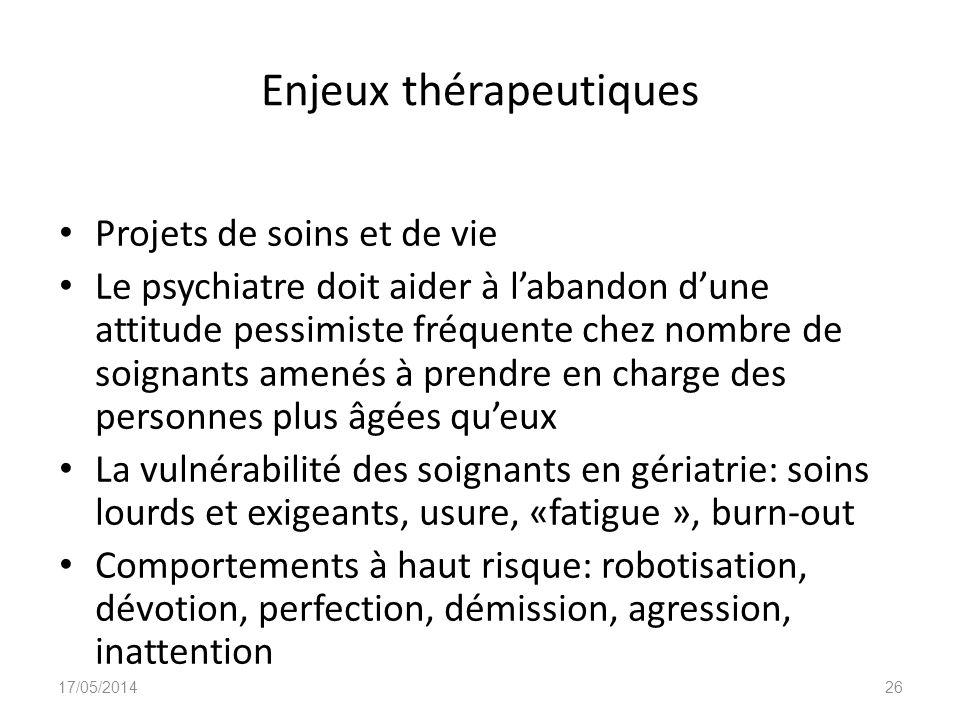 Enjeux thérapeutiques Projets de soins et de vie Le psychiatre doit aider à labandon dune attitude pessimiste fréquente chez nombre de soignants amené